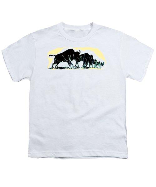 Bison Prairie Run Youth T-Shirt by Aliceann Carlton