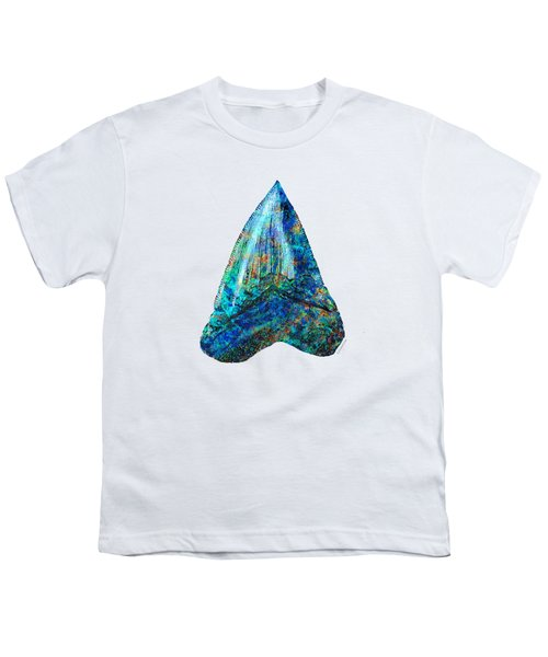 Blue Shark Tooth Art By Sharon Cummings Youth T-Shirt by Sharon Cummings