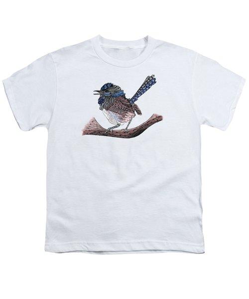 Blue Zen Wren Paisley Bird Youth T-Shirt by Lorraine Kelly
