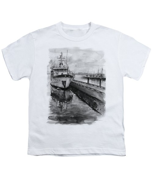 Boat On Waterfront Marina Kirkland Washington Youth T-Shirt by Olga Shvartsur