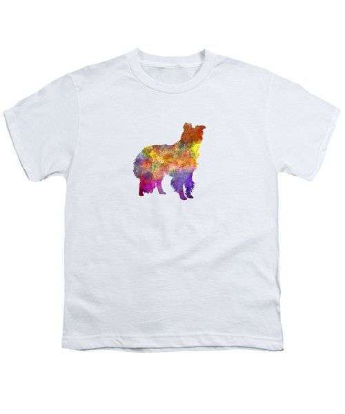 Border Collie In Watercolor Youth T-Shirt by Pablo Romero
