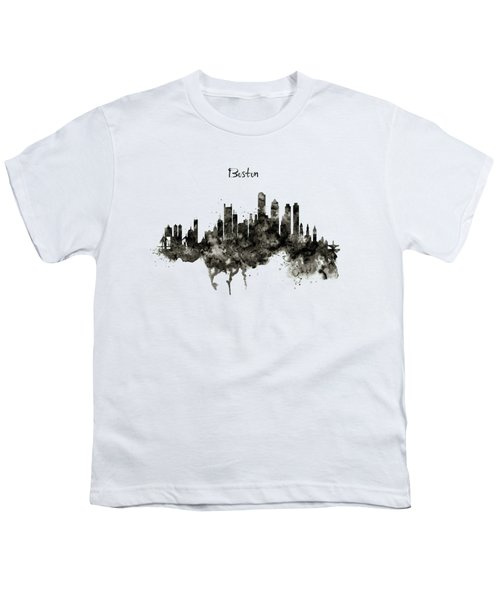 Boston Skyline Black And White Youth T-Shirt by Marian Voicu