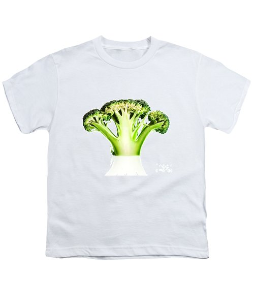 Broccoli Cutaway On White Youth T-Shirt by Johan Swanepoel