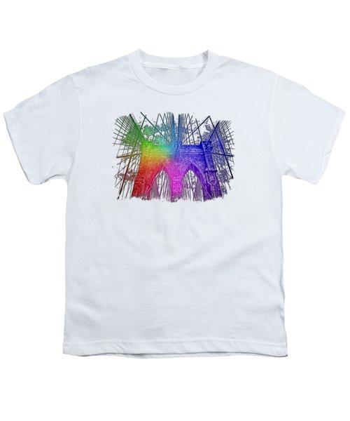 Brooklyn Bridge Cool Rainbow 3 Dimensional Youth T-Shirt by Di Designs