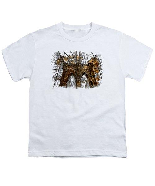 Brooklyn Bridge Earthy 3 Dimensional Youth T-Shirt by Di Designs