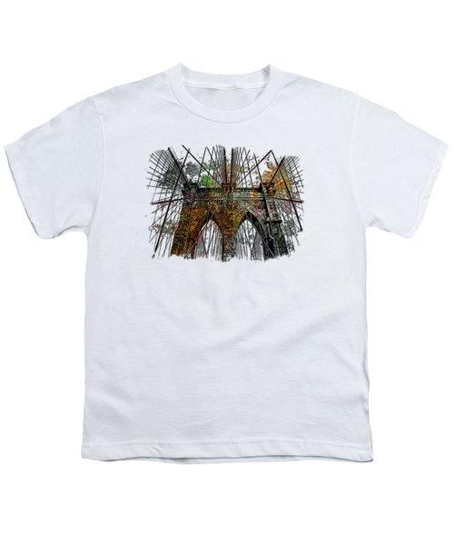 Brooklyn Bridge Muted Rainbow 3 Dimensional Youth T-Shirt by Di Designs