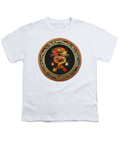 Brotherhood Of The Snake - The Red And The Yellow Dragons On White Leather Youth T-Shirt by Serge Averbukh
