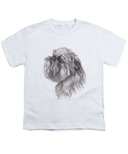 Brussels Griffon Dog Portrait  Drawing Youth T-Shirt by I Am Lalanny