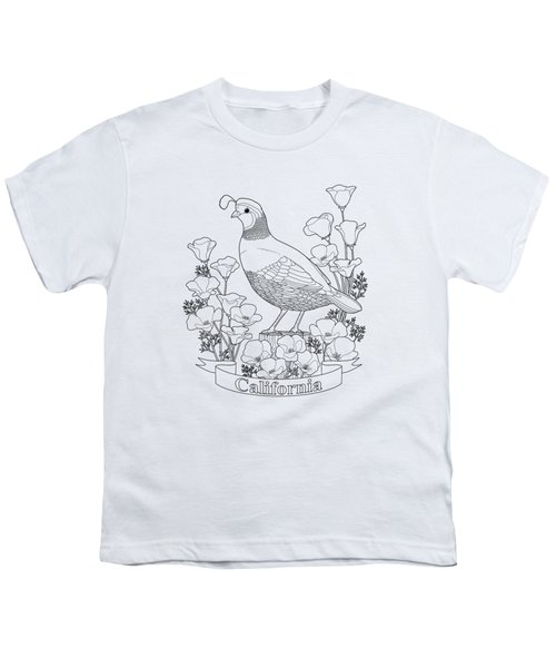 California State Bird And Flower Coloring Page Youth T-Shirt by Crista Forest