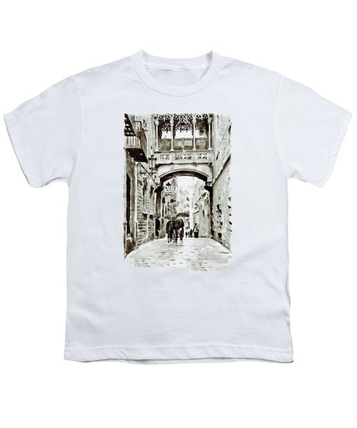 Carrer Del Bisbe - Barcelona Black And White Youth T-Shirt by Marian Voicu