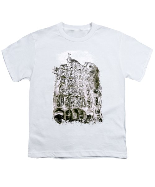 Casa Batllo Barcelona Black And White Youth T-Shirt by Marian Voicu