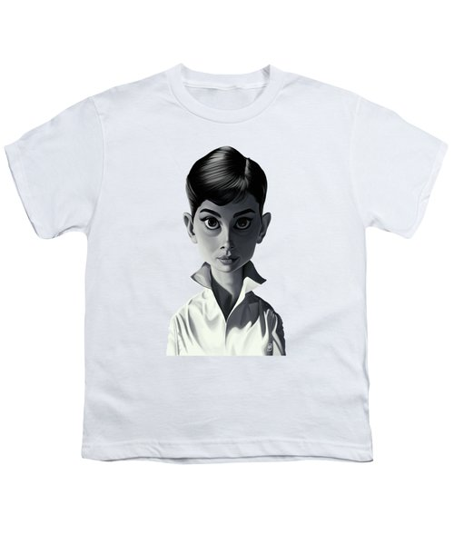 Celebrity Sunday - Audrey Hepburn Youth T-Shirt by Rob Snow