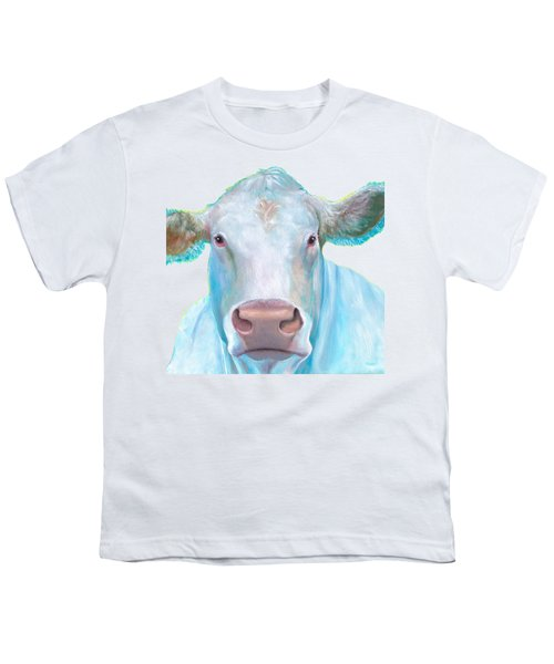 Charolais Cow Painting On White Background Youth T-Shirt by Jan Matson