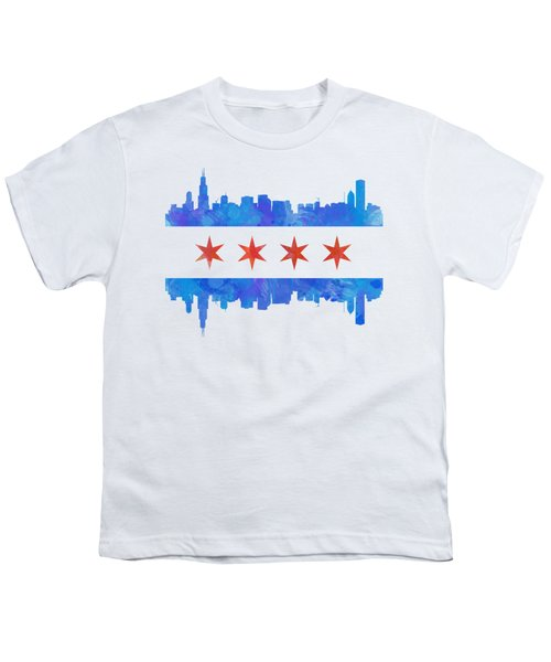 Chicago Flag Watercolor Youth T-Shirt by Mike Maher