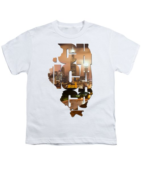 Chicago Illinois Typography - Chicago Skyline From The Rooftop Youth T-Shirt by Gregory Ballos