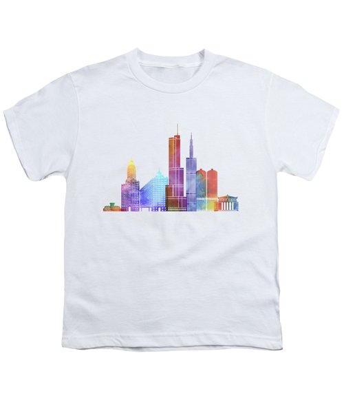 Chicago Landmarks Watercolor Poster Youth T-Shirt by Pablo Romero