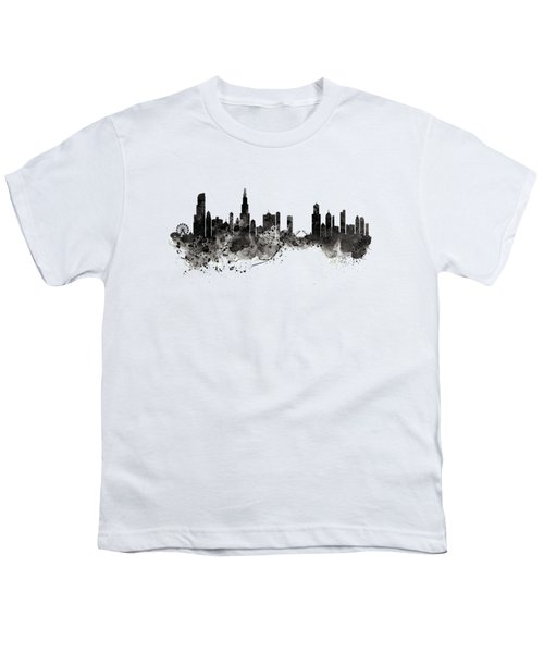 Chicago Skyline Black And White Youth T-Shirt by Marian Voicu