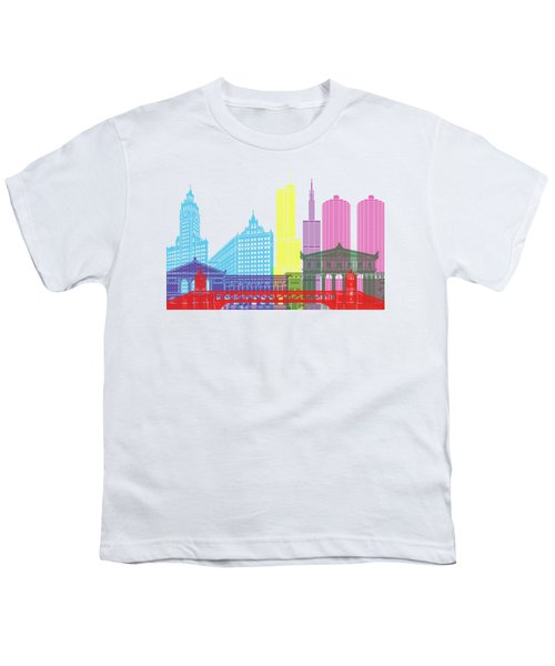 Chicago Skyline Pop Youth T-Shirt by Pablo Romero
