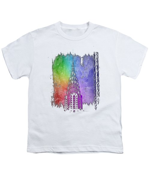 Chrysler Spire Cool Rainbow 3 Dimensional Youth T-Shirt by Di Designs