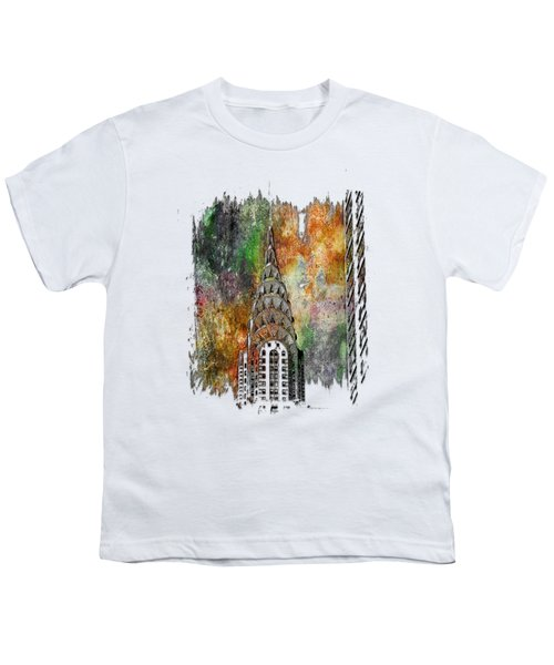 Chrysler Spire Muted Rainbow 3 Dimensional Youth T-Shirt by Di Designs