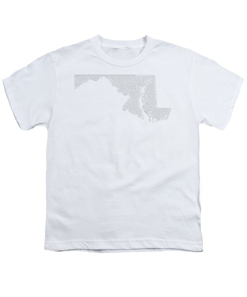 Cities And Towns In Maryland Black Youth T-Shirt by Custom Home Fashions