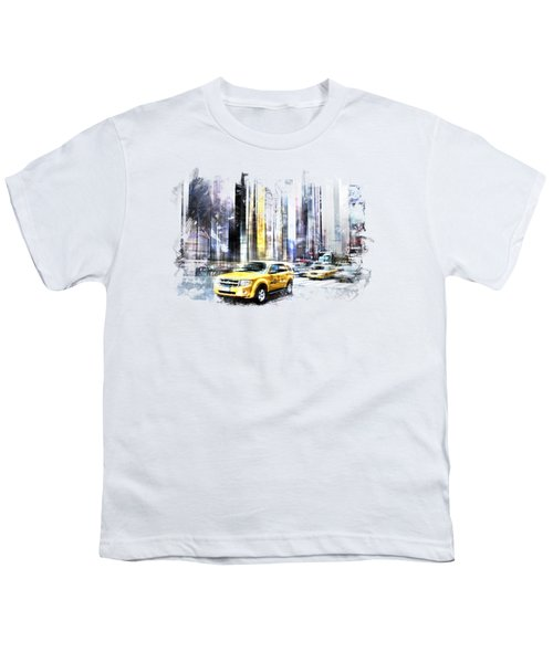 City-art Times Square II Youth T-Shirt by Melanie Viola