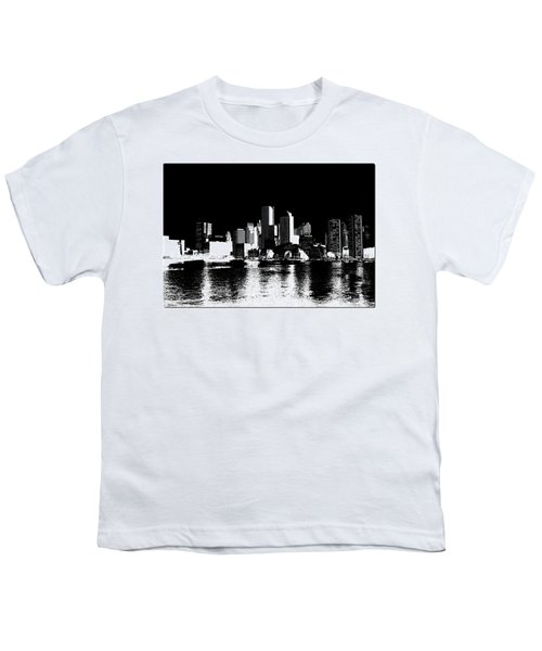 City Of Boston Skyline   Youth T-Shirt by Enki Art