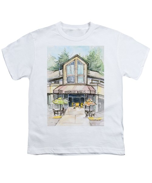 Coffee Shop Watercolor Sketch Youth T-Shirt by Olga Shvartsur