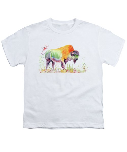 Colorful American Buffalo Youth T-Shirt by Melly Terpening