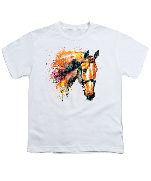 Colorful Horse Head Youth T-Shirt by Marian Voicu