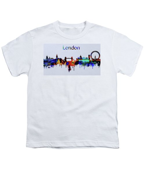 Colorful London Skyline Silhouette Youth T-Shirt by Dan Sproul