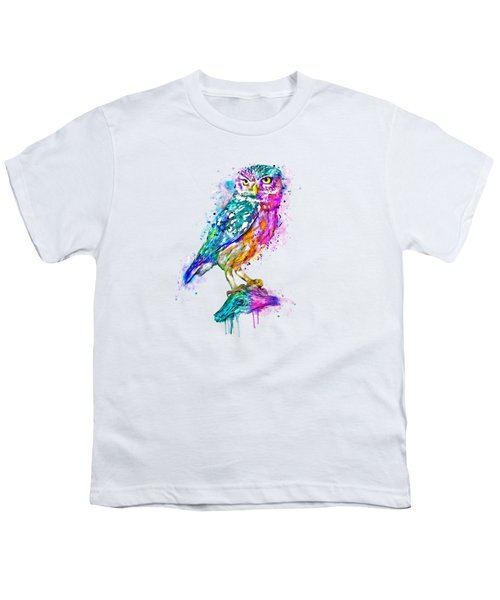 Colorful Owl Youth T-Shirt by Marian Voicu