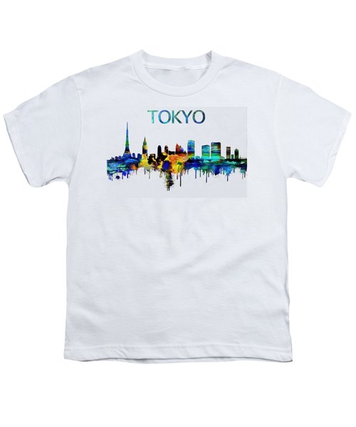 Colorful Tokyo Skyline Silhouette Youth T-Shirt by Dan Sproul