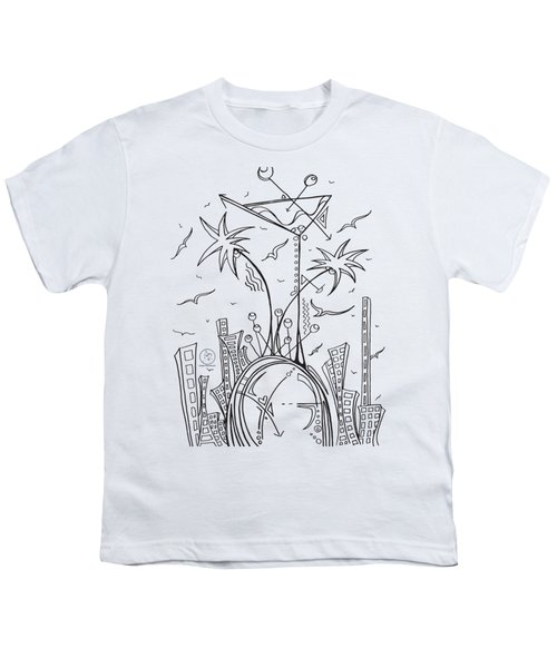 Coloring Page With Beautiful City Martini Drawing By Megan Duncanson Youth T-Shirt by Megan Duncanson