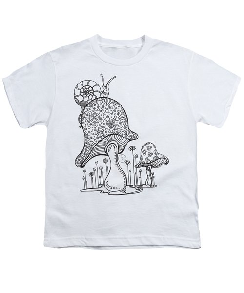 Coloring Page With Beautiful Mushroom And Snail Drawing By Megan Duncanson Youth T-Shirt by Megan Duncanson