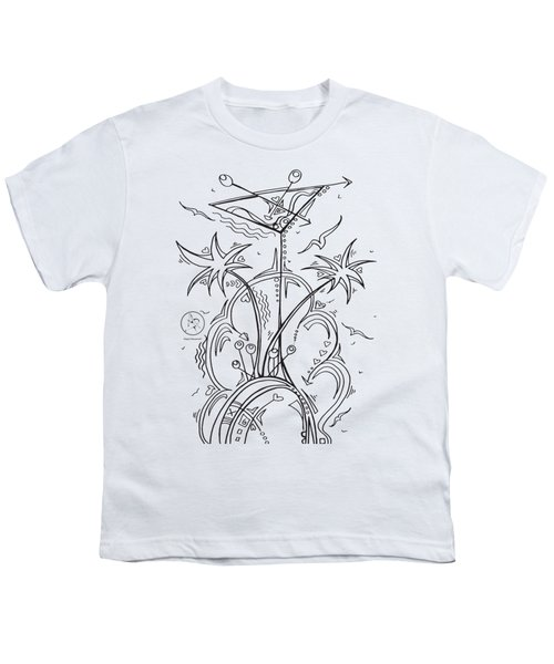 Coloring Page With Beautiful Tropical Martini Drawing By Megan Duncanson Youth T-Shirt by Megan Duncanson