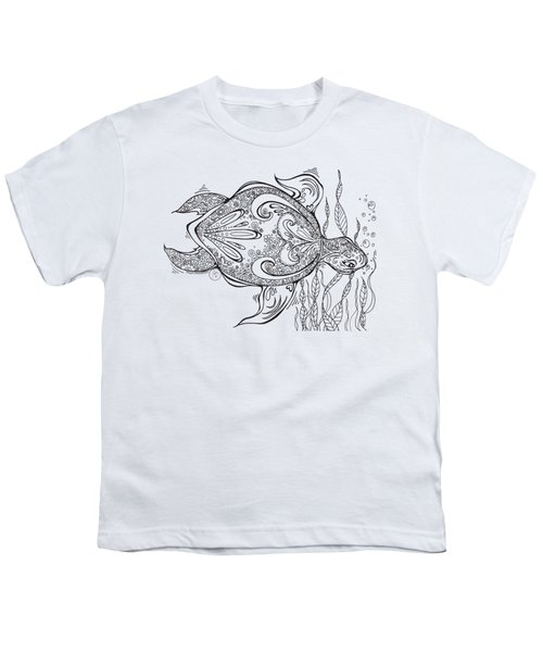 Coloring Page With Beautiful Turtle Drawing By Megan Duncanson Youth T-Shirt by Megan Duncanson