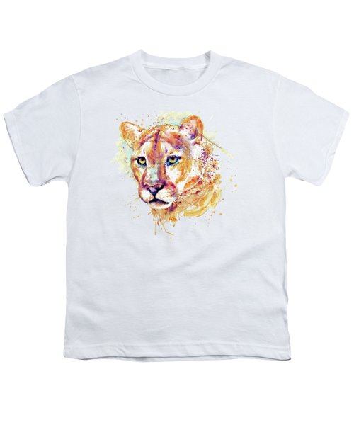 Cougar Head Youth T-Shirt by Marian Voicu
