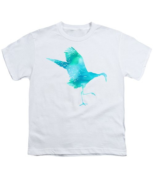 Crane Ready For Flight - Blue-green Watercolor Youth T-Shirt by Custom Home Fashions