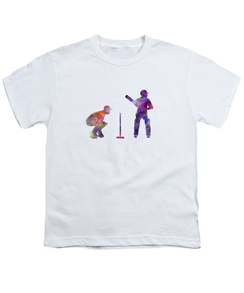 Cricket Player Silhouette Youth T-Shirt by Pablo Romero