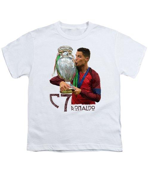 Cristiano Ronaldo Youth T-Shirt by Armaan Sandhu