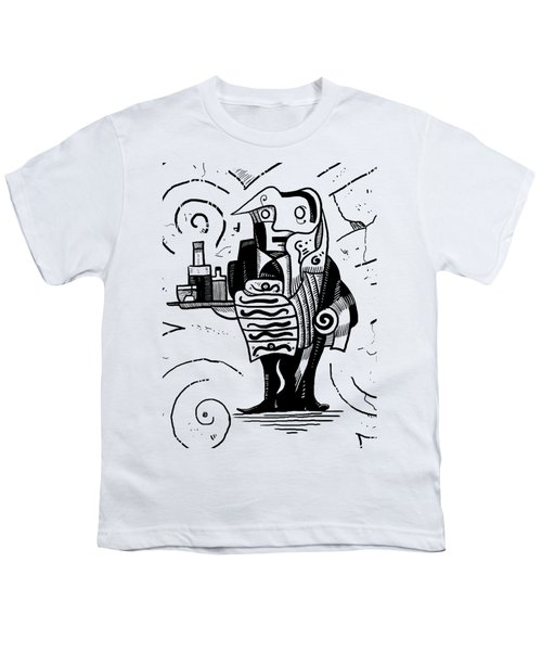Cubist Waiter Youth T-Shirt by Erki Schotter