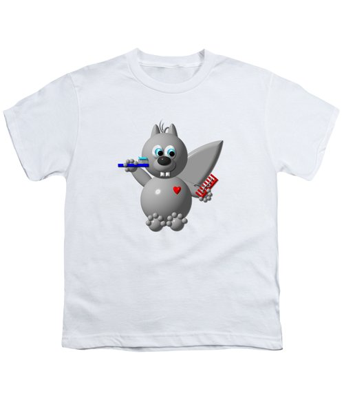 Cute Squirrel Brushing It's Hair And Teeth Youth T-Shirt by Rose Santuci-Sofranko