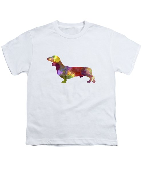 Dachshund In Watercolor Youth T-Shirt by Pablo Romero