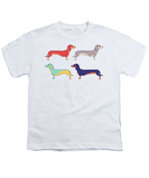 Dachshunds Youth T-Shirt by Kelly Jade King