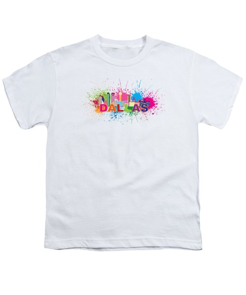 Dallas Skyline Paint Splatter Text Illustration Youth T-Shirt by Jit Lim