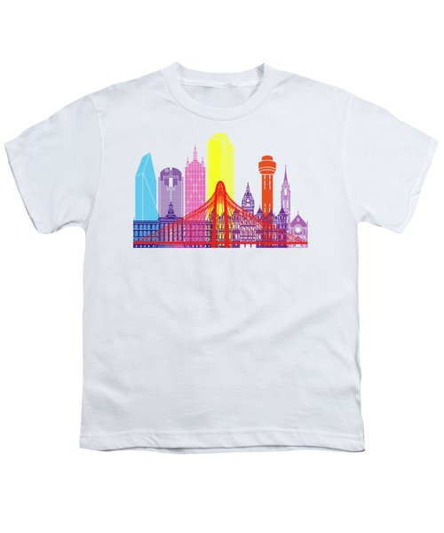 Dallas Skyline Pop Youth T-Shirt by Pablo Romero