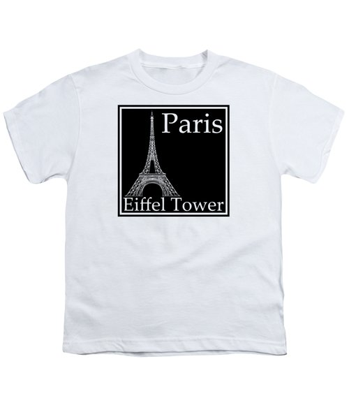 Eiffel Tower In Black Youth T-Shirt by Custom Home Fashions