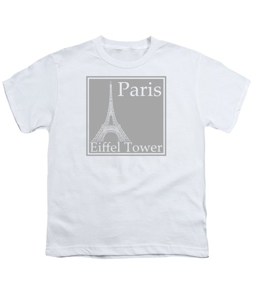 Eiffel Tower In Gray Youth T-Shirt by Custom Home Fashions