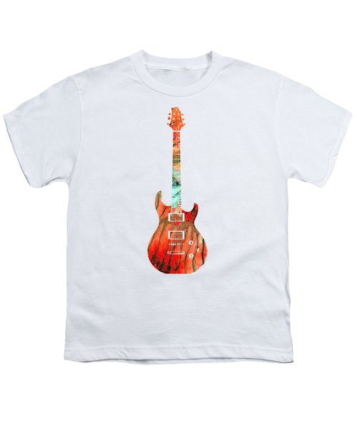 Electric Guitar 2 - Buy Colorful Abstract Musical Instrument Youth T-Shirt by Sharon Cummings